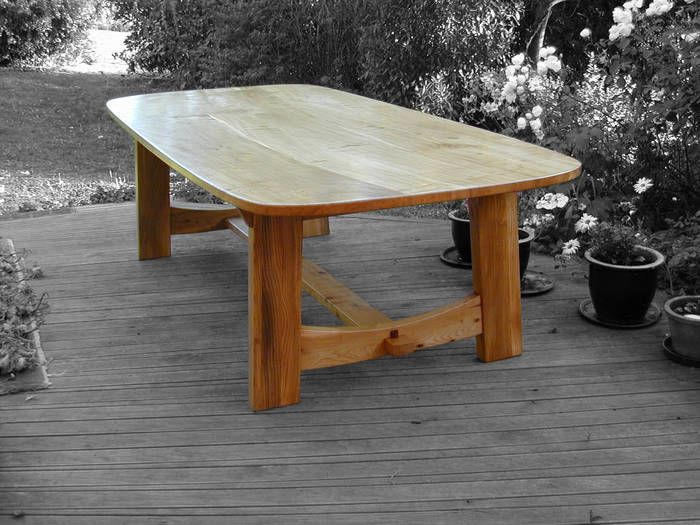 Elm trestle style dining table