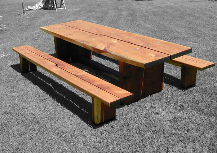 Redwood Outdoor table and forms