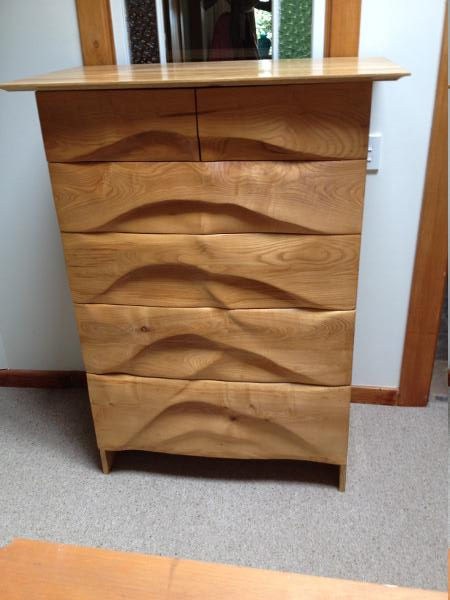 Ash , carved front set of drawers