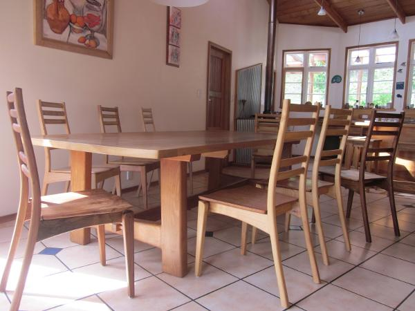elm dining table , ash, walnut and elm chairs