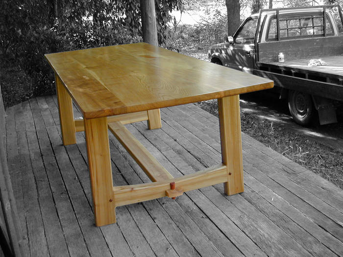 Trestle table, elm